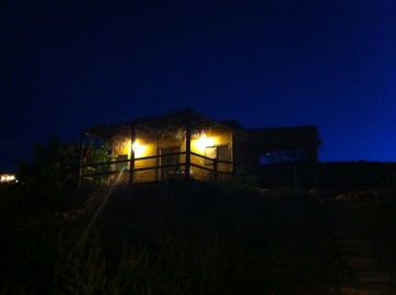 Our cottage at nighttime